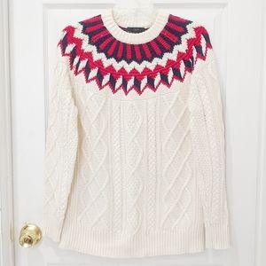 J. Crew Fair Isle Cable Knit Sweater sz XS H4158
